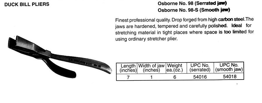 Osborne No. 98-S  Duck Bill Pliers (Smooth jaw)